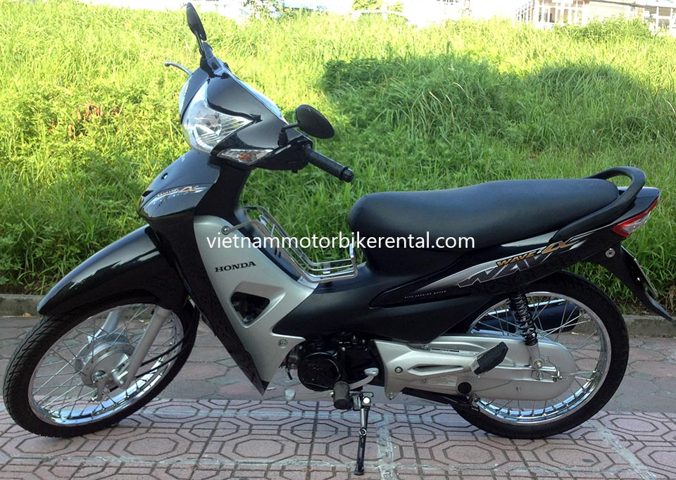 Vietnam Motorbike Hanoi Rental - Scooters For Beginners. Vietnam Motorbike Hanoi Rental provides moped scooter tours and rentals in Hanoi. This is a 2014 black Honda Wave 100cc with front and back drum brakes.