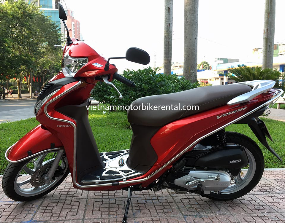 Vietnam Motorbike Hanoi Rental - Scooters For Beginners. Vietnam Motorbike Hanoi Rental provides moped scooter tours and rentals in Hanoi. This is a 2015 red Honda Vision 110cc with front disk brake.