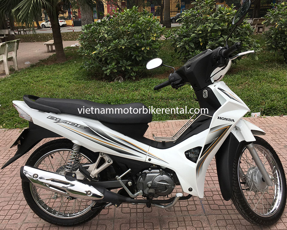 Vietnam Motorbike Hanoi Rental - Scooters For Beginners. Vietnam Motorbike Hanoi Rental provides moped scooter tours and rentals in Hanoi. This is a 2015 white Honda Blade 110cc with front and back drum brakes.